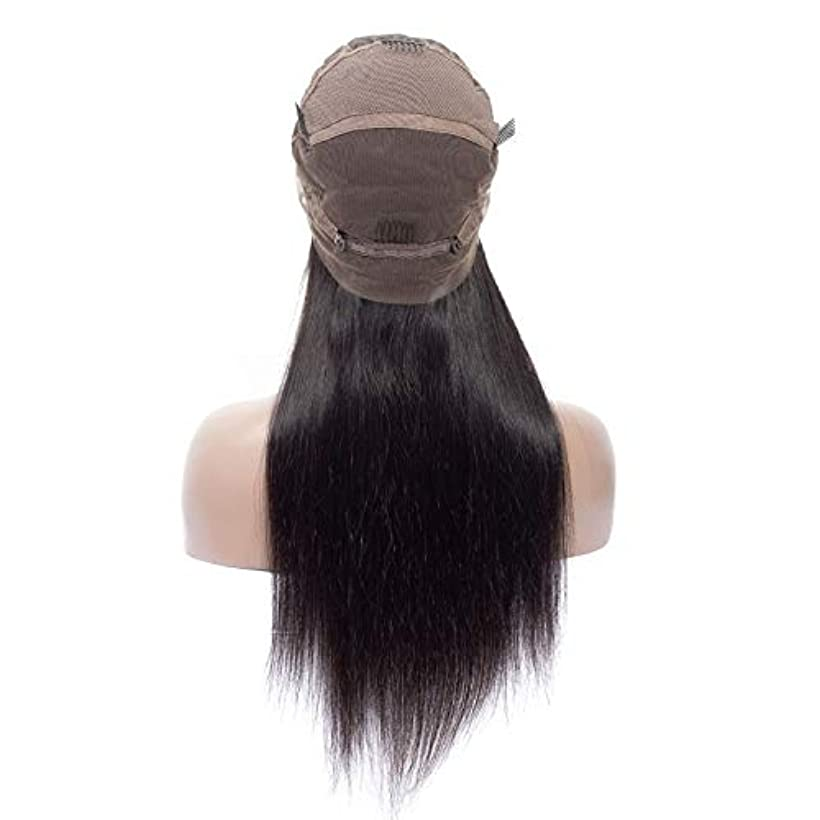 抱擁ダイヤモンド戸惑うSRY-Wigファッション ファッションレディースロングブラジルブラックストレートナチュラルレミーかつら髪古い完全かつら (Color : ブラック, Size : 10inch)