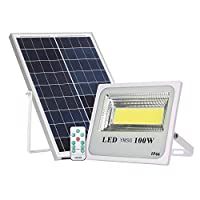 100W Solar Powered Street Flood Lights, 120 Leds 6000 Lumens Outdoor Led Solar Lights Waterproof IP66 with Remote Control Security Lighting for Yard, Garden, Gutter, Swimming pool, Pathway, Basketball [並行輸入品]