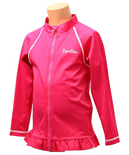 Benetton(ベネトン)女の子キッズラッシュガード長袖UV加工100110120130126-821ピンク120