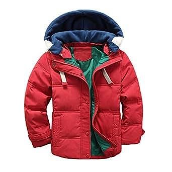 YideaHome ダウンジャケット 男の子 子供服 厚手コート 冬 ボーイズ ダウンコート 中綿コート キッズ 防寒 フード付き アウター ファッション 110