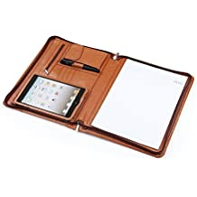Deluxe Leather Padfolio for iPad Mini 5th/ Mini 4 and A4 Letter-Size Notepad, Business Portfolio Folder Organizer, Brown