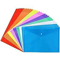 Aplanet 28枚 8色透明ボタンファイル クリアファイル ファイルケースA4 ヨコ型 カラフル 書類 資料 収納 文房具 事務用品