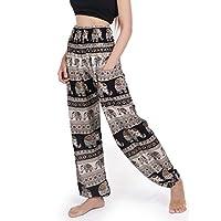 BANJAMATH®? Women's Smocked Waist Harem Hippie Boho Yoga Palazzo Casual Pants (M, Elepant Navy)