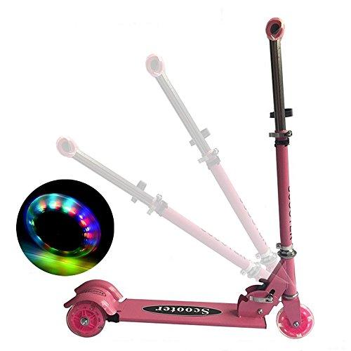 Sanato 3輪式キックスクーター こども キックボード 光るタイヤ 3段階調節可 折りたたみ式 ピンク