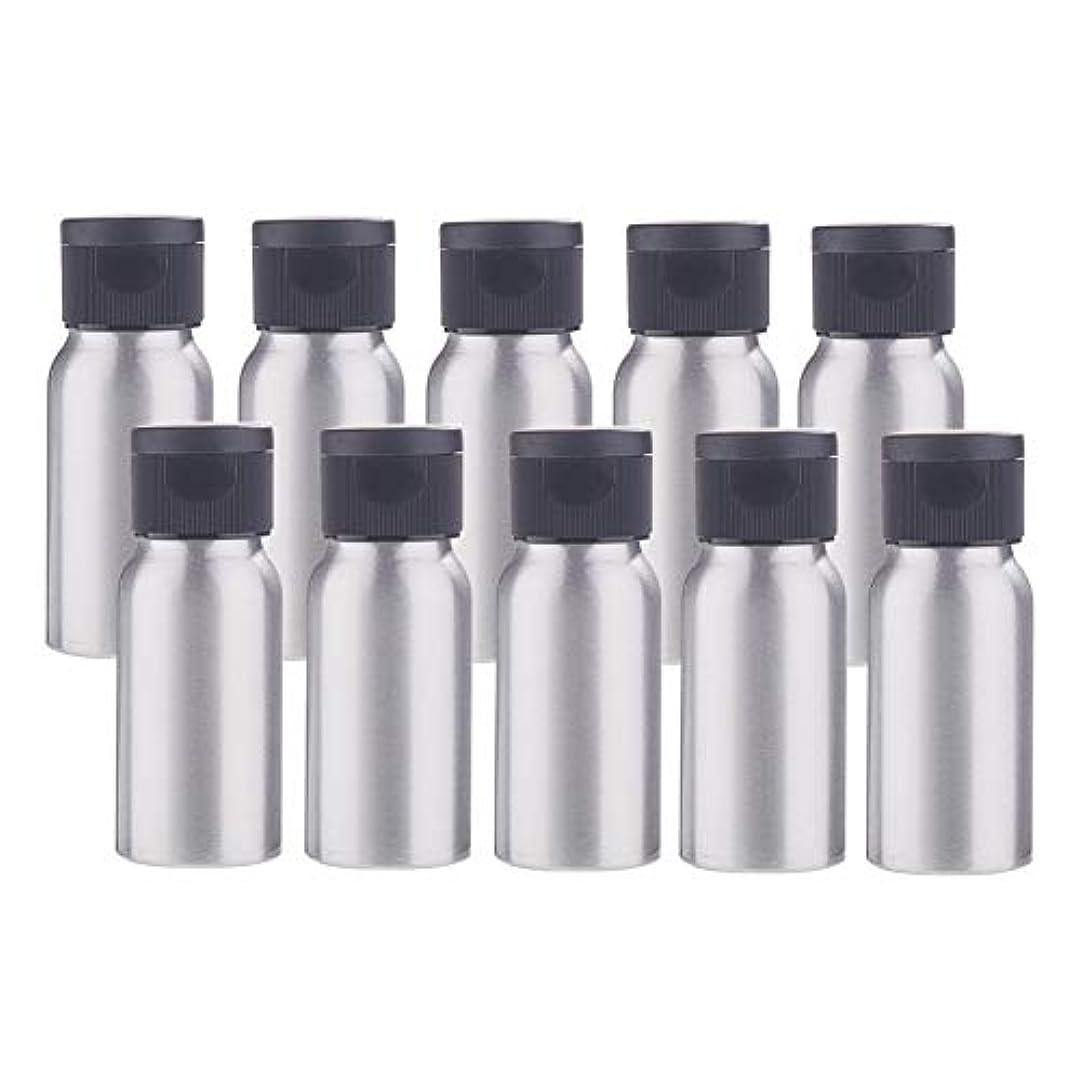 聴覚赤起きろBENECREAT 10個セット30mlアルミボトル フリップカバー空瓶 防錆 遮光 軽量 化粧品 アロマ 小分け 詰め替え 黒いプラスチック蓋