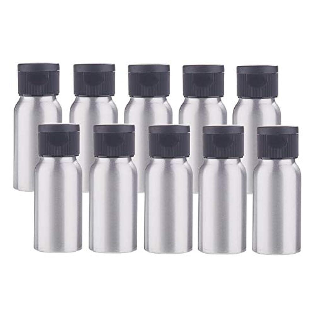 安定空いているガムBENECREAT 10個セット30mlアルミボトル フリップカバー空瓶 防錆 遮光 軽量 化粧品 アロマ 小分け 詰め替え 黒いプラスチック蓋