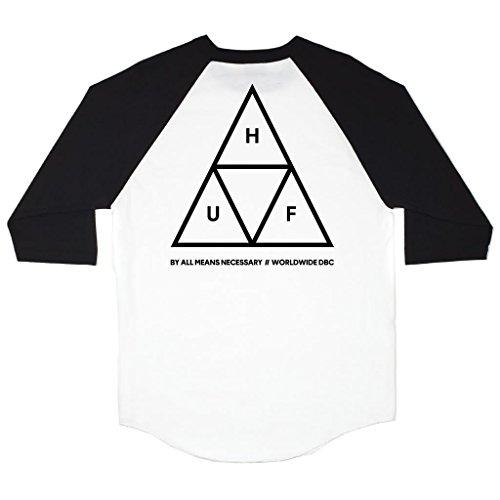 (ハフ) HUF Tシャツ ワールドワイド ラグラン TRIPLE TRIANGLE RAGLAN T-SHIRT 【huf268】 L BLACK [並行輸入品]