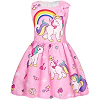 AmzBarley Girls Dresses Unicorn Costume Rainbow Dress Princess Birthday Party Casual Clothes Sleeveless
