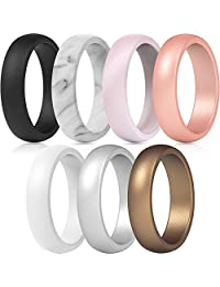 ThunderFit Silicone Rings, 7 Pack & Singles Wedding Bands for Women - 5.5 mm Wide