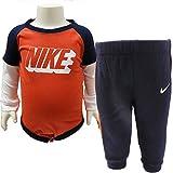 NIKE ナイキ ベビー服 ロンパース ボディスーツ スウェットパンツ 上下セット お出かけ着 - デザインA / 0/3ヶ月=60〜65cm