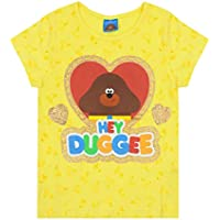 Hey Duggee Girl's T-Shirt Yellow Short Sleeve Glitter Heart Kids Tee
