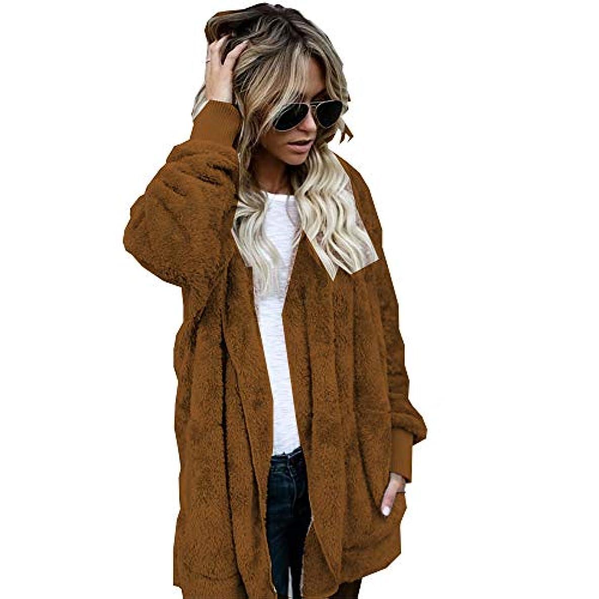 冬メッセンジャーヒントMIFAN 長袖パーカー、冬のコート、女性のコート、女性の緩い厚く暖かいフェイクファーフード付きカーディガン