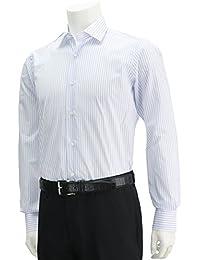 (バルバ) BARBA BRUNO ホワイト&サックスブルー縦縞ドレスシャツ ホワイト [並行輸入品]