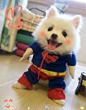 【全5サイズ】ドッグウェア 犬服のトレーナー ワンちゃんがスーパーマンに変身 (Mサイズ(首回り25~30cm 身長約28cm) 8018-3)