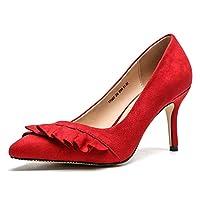 レディース 痛くない 美脚 ポインテッドトゥ 靴 スエード シューズ 黒 通勤 大きい 小さい 走れる 女性 おしゃれ 可愛い レッド ハイヒール 結婚式 靴 低反発 23.0cm 歩きやすい パーティー 立ち仕事 灰色