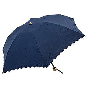 ビコーズ ドット&ドット刺繍 ミニ 全3色 折りたたみ傘 日傘/晴雨兼用 手開き ドット ネイビー 6本骨 47cm UVカット 軽量 木製ハンドル BE-09694