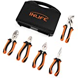 INLIFE Pliers Set 5 piece Handy Tool with long nose plier and slip joint plier, Basic Combination Homeowners Tools with Portable Case