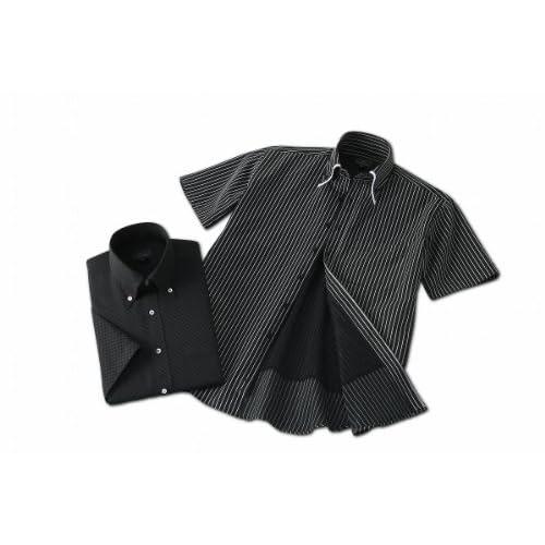 (フランコ コレツィオーニ)Franco Collezioni 裏メッシュ半袖ドレスシャツ2枚組(ブラック系) 50270  ブラック LL
