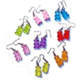Tiande 8 Pairs Bear Earring Set Cute Colorful Resin Candy Cartoon Drop Earring Party Favors Birthday Gifts for Girls Women