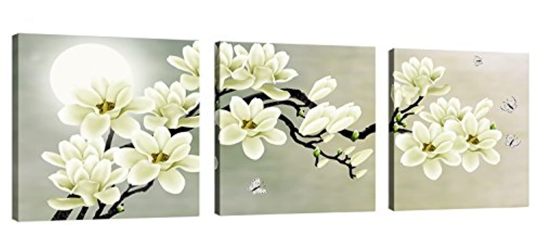 CoFun Art 花と月の風景画 現代壁の絵 壁掛け 部屋飾り 背景絵画 壁アート HD しゃしん 木枠付きの完成品 装飾 軽くて取り付けやすい (30×30cm×3)