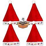 LED ライトアップ クリスマス 電球 フラシ天 サンタ 帽子 大人 子供用 - 4個パック