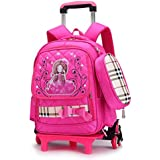 Nanle Trolley Bag Six-Wheeled Trolley School Bag Girls Kids School Backpack Rolling Children Pupils Primary School Students Travelling Luggage (Color : D)