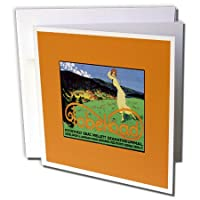 BLNビンテージ旅行ポスター、荷物タグ–tobelbadオーストリアゴルフリゾート旅行ポスターwith Woman Playing–グリーティングカード Individual Greeting Card