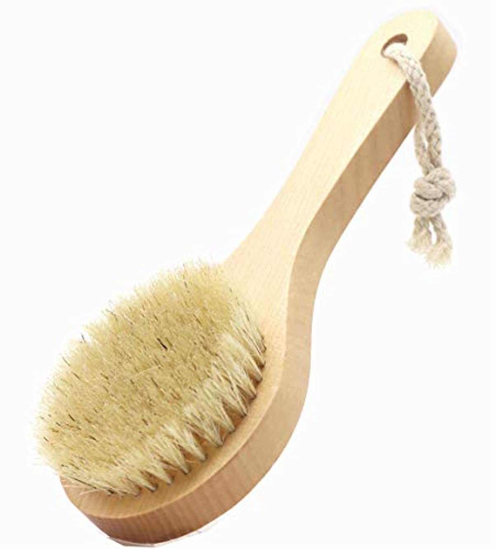 セブン歌う項目Maltose 豚毛ボディブラシ 硬め シャワーブラシ 体洗い ボディーぶらし 短柄 お風呂用 男性