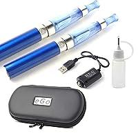 電子タバコ 本体 2本セット CE4 USB充電ケーブル2本 注入ボトル ケース 取扱説明書 ego VAPE 電子たばこ 禁煙グッズ 充電 ブルー EGO-CE4SET-BU