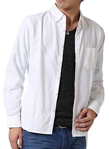 (アーケード) ARCADE メンズ シャツ 細身 選べる釦 カラーボタン マルチボタン オックスフォード ボタンダウン 長袖 カジュアルシャツ M ホワイト(レギュラーボタン)