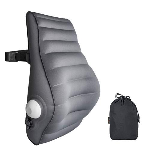 クッション BestMaxs エアークッション 手動プレス式膨らませる ランバーサポート 腰枕 オフィス 椅子用 車用クッション 腰痛防止 取付バンド調節可能 姿勢 猫背 対策 (灰色)【メーカー直営・1年保証付】