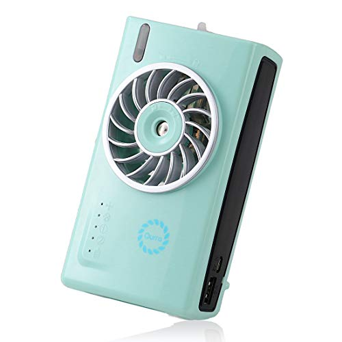 Qurra 卓上扇風機 usb 充電 加湿器 兼用 卓上/手持ち 両用 ミストファン 4段階調節 連続11時間使用 オフィス 寝室-ミントグリーン