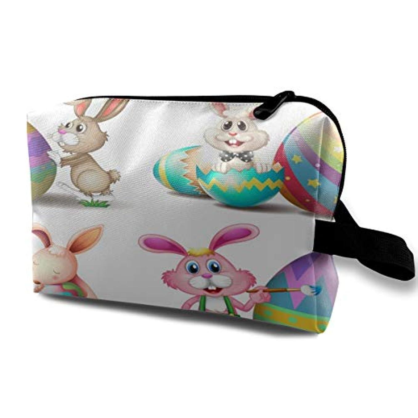 感じ繊維いたずらなBunnies With Easter Eggs 収納ポーチ 化粧ポーチ 大容量 軽量 耐久性 ハンドル付持ち運び便利。入れ 自宅?出張?旅行?アウトドア撮影などに対応。メンズ レディース トラベルグッズ