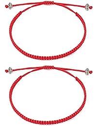 Seyaa Red String of Fate Bracelets Kabbalah Protection Good Luck Simple Matching Bracelets for Couple Women Men