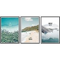 数字によるシンプルなペイント風景絵画ビーチバケーションポスタープリントレターキャンバス絵画画像ホームウォールアート装飾、60x80cmフレームなし、3個セット