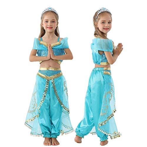 【 色鮮やか 】monoii アラジン プリンセス 衣装 子供 アラビアン 王女 ドレス コスプレ キッズ コスチューム お姫様 コス 子ども ハロウィン 仮装 女の子 d221