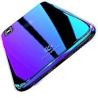 FLOVEME iphoneXケース 勾配色カバー 色グラデーション変化 大人気 [衝撃吸収 超薄型 安心交換保証] 落下防止 薄型軽量 魅力感 電波影響/色褪無し エコ素材 変色ケース(iphone8,パープル)