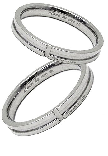 [クローストゥーミー] Close to me クロス スリット ステンレス ペアリング 2個セット カップル 指輪 (女性9号男性21号) 人気 ブランド