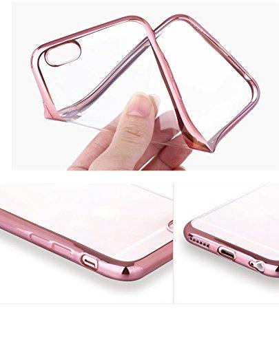『Rovski iPhone6s Plus ケース iPhone6 Plus ケース 弧状設計 脱着簡単 超薄型耐衝撃 保護キャップ 一体型 ソフト TPU ケース(ローズゴールド)』の6枚目の画像