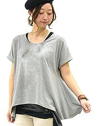 [アンドイット] and it_ もちもちストレッチ イレギュラーヘムカットソー レディース トップス Tシャツ