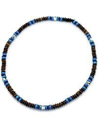 シルバーワン(Silver1)hi ココナッツの種 弾性サマーチョーカー ブラウン&ブルー ビーズ ネックレス メンズ[7mm 50cm]