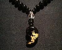 龍勾玉 オニキス&カット水晶 数珠ネックレス (60 センチメートル)
