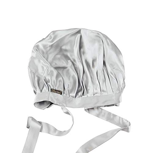 LilySilk(リリーシルク)天然シルク100% ナイトキャップ 枝毛防止 保湿美髪 ロングヘア用 お休みキャップ 就寝用 産後用 (1/4周ゴム/シルバーグレー)