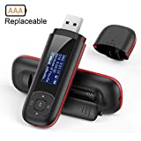 AGPTEK U3 USB Stick 8GB MP3 Player, Replaceable AAA Battery Music Player with USB Flash Drive, Recording, FM Radio, Supports up to 64GB, Black