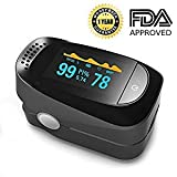 Pulse Oximeter Fingertip Blood Oxygen Saturation Monitor SpO2 Sensor Meter with Alarm Beep Rotating OLED Display (Black and Grey)