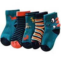 Ehdching Baby Toddler Boys Novelty Warm Cotton Dinosaur Stripe Cartoon Ankle Socks 5 Pack