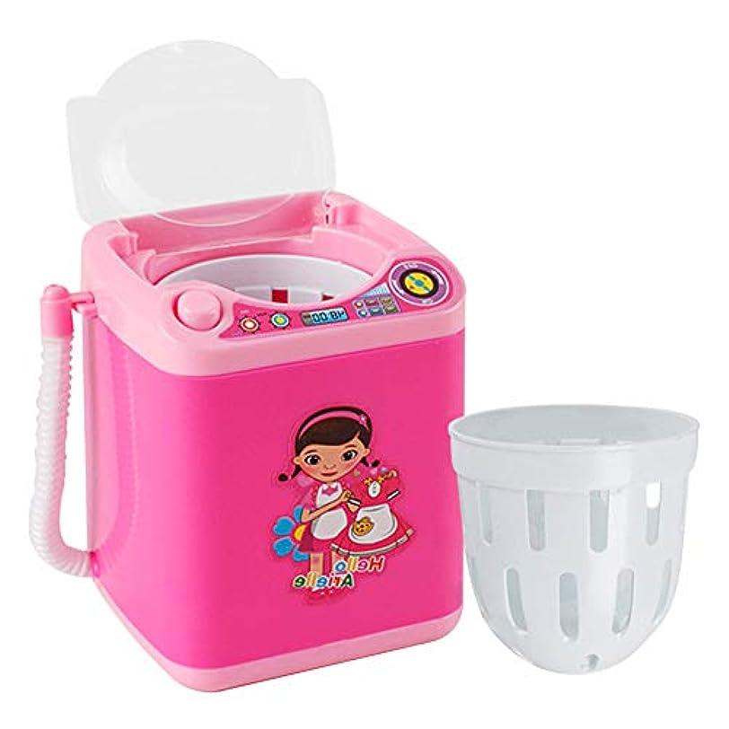 発症怪物ラベルメイクアップブラシクリーナー、ミニ自動メイクアップブラシクリーニング装置、メイクアップブラシを清潔に保ち、自動かつ迅速なクリーニング(ピンク)