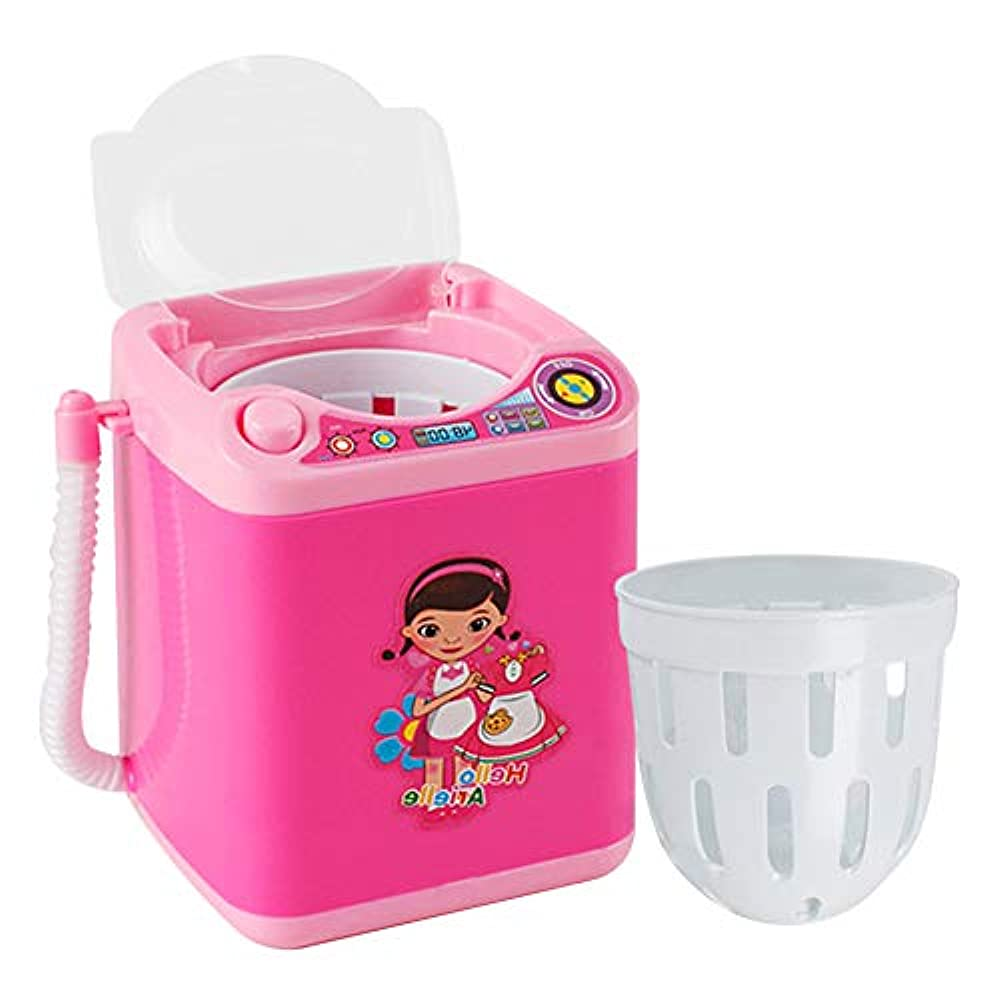 メイクアップブラシクリーナー、ミニ自動メイクアップブラシクリーニング装置、メイクアップブラシを清潔に保ち、自動かつ迅速なクリーニング(ピンク)