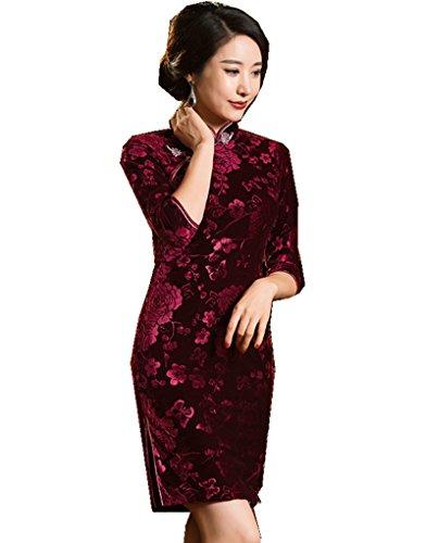 [해외](상하이 이야기) Shanghai Story 꽃 무늬 무지 여성용 중국 의류 여성 드레스 짧은 소매 슬릿 벨벳 차이나 의상 치파오 차이나 옷 여성 드레스 중화 풍 원피스 민족 의류/(Shanghai Story) Shanghai Story Flower Pattern Plain Women`s China Cloth...