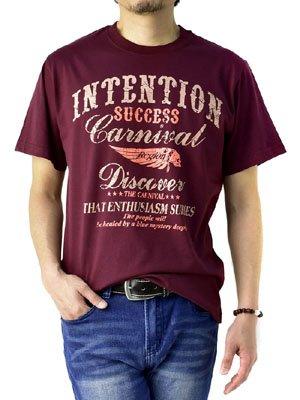 (フラグオンクルー) FLAG ON CREW メンズ Tシャツ 綿 半袖T ミリタリー アメカジ / D2O / M バイカー柄ワイン